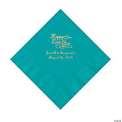 Turquoise Happy Ever After Personalized Napkins with Gold Foil - Luncheon