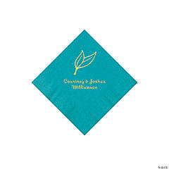 Turquoise Heart Leaf Personalized Napkins with Gold Foil - Beverage