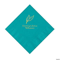 Turquoise Heart Leaf Personalized Napkins with Gold Foil - Luncheon