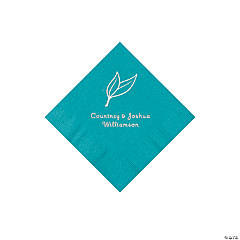 Turquoise Heart Leaf Personalized Napkins with Silver Foil - Beverage