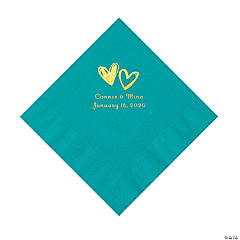 Turquoise Hearts Personalized Napkins with Gold Foil - Luncheon