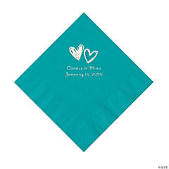 Turquoise Hearts Personalized Napkins with Silver Foil - Luncheon