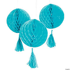 Turquoise Honeycomb Tissue Balls with Tassel