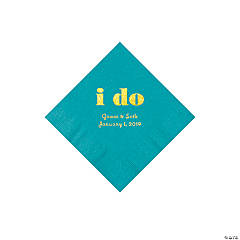 Turquoise I Do Personalized Napkins with Gold Foil - Beverage