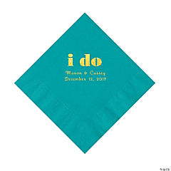 Turquoise I Do Personalized Napkins with Gold Foil - Luncheon