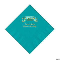 Turquoise Introducing Personalized Napkins with Gold Foil - Luncheon