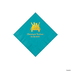 Turquoise Just Married Personalized Napkins with Gold Foil - Beverage