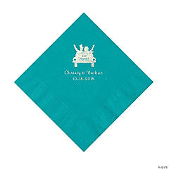 Turquoise Just Married Personalized Napkins with Silver Foil - Beverage