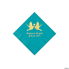 Turquoise Love Birds Personalized Napkins with Gold Foil – Beverage