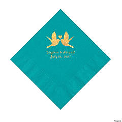 Turquoise Love Birds Personalized Napkins with Gold Foil – Luncheon
