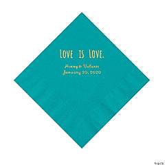 Turquoise Love is Love Personalized Napkins with Gold Foil - Luncheon