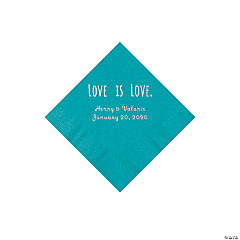 Turquoise Love is Love Personalized Napkins with Silver Foil - Beverage