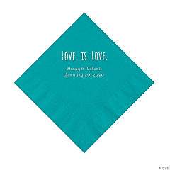 Turquoise Love is Love Personalized Napkins with Silver Foil - Luncheon