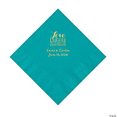 Turquoise Love Laughter & Happily Ever After Personalized Napkins with Gold Foil - Luncheon
