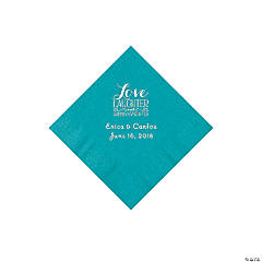 Turquoise Love Laughter & Happily Ever After Personalized Napkins with Silver Foil - Beverage