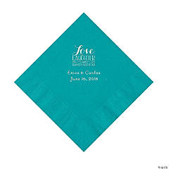 Turquoise Love Laughter & Happily Ever After Personalized Napkins with Silver Foil – Luncheon
