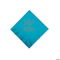 "Turquoise ""Love"" Personalized Napkins with Gold Foil - Beverage"