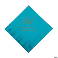 """Turquoise """"Love"""" Personalized Napkins with Gold Foil - Luncheon"""