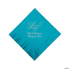 "Turquoise ""Love"" Personalized Napkins with Silver Foil - Beverage"