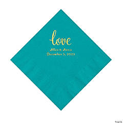 Turquoise Love Script Personalized Napkins with Gold Foil - Luncheon