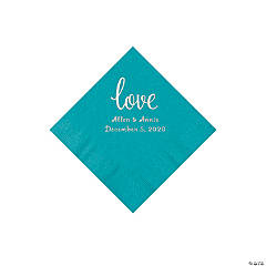 Turquoise Love Script Personalized Napkins with Silver Foil - Beverage