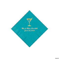 Turquoise Martini Glass Personalized Napkins with Gold Foil - Beverage