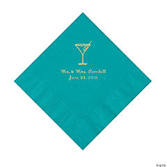 Turquoise Martini Glass Personalized Napkins with Gold Foil - Luncheon