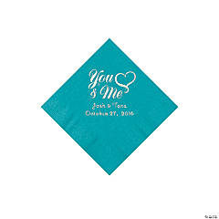 Turquoise Me & You Heart Personalized Beverage Napkins