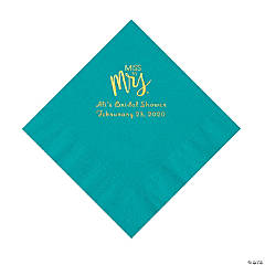 Turquoise Miss to Mrs. Personalized Napkins with Gold Foil - Luncheon