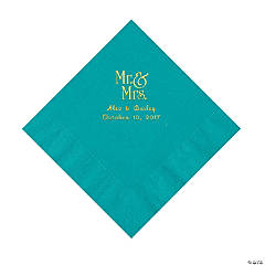 Turquoise Mr. & Mrs. Personalized Napkins with Gold Foil - Luncheon