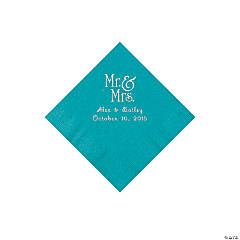 Turquoise Mr. & Mrs. Personalized Napkins with Silver Foil - Beverage