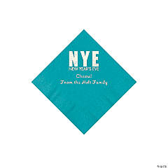 Turquoise New Year's Eve Personalized Napkins with Silver Foil - Beverage