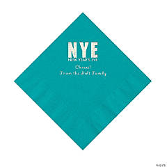 Turquoise New Year's Eve Personalized Napkins with Silver Foil - Luncheon