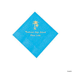 Turquoise Palm Tree Personalized Napkins with Gold Foil - Beverage