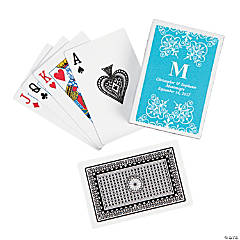 Turquoise Roman Monogram Playing Cards