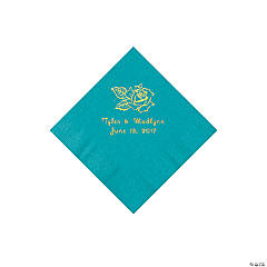 Turquoise Rose Personalized Napkins with Gold Foil - Beverage