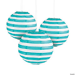 Turquoise Striped Hanging Paper Lanterns