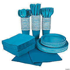 Turquoise Tableware Party Pack for 48