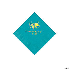 Turquoise Thank You Personalized Napkins with Gold Foil - Beverage