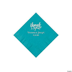 Turquoise Thank You Personalized Napkins with Silver Foil - Beverage
