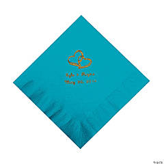 Turquoise Two Hearts Personalized Napkins with Gold Foil - Luncheon