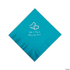 Turquoise Two Hearts Personalized Napkins with Silver Foil - Luncheon