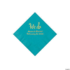 Turquoise We Do Personalized Napkins with Gold Foil - Beverage