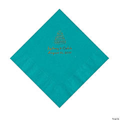 Turquoise Wedding Cake Personalized Napkins with Gold Foil - Luncheon