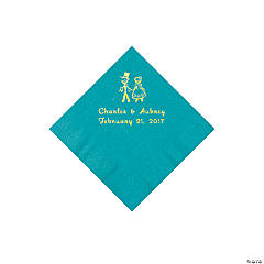 Turquoise Wedding Couple Personalized Napkins with Gold Foil - Beverage