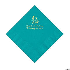 Turquoise Wedding Couple Personalized Napkins with Gold Foil - Luncheon