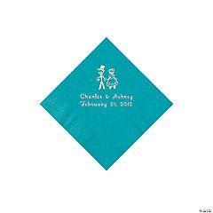 Turquoise Wedding Couple Personalized Napkins with Silver Foil - Beverage