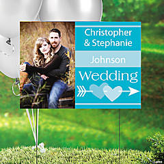 Turquoise Wedding Custom Photo Yard Sign