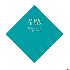 Turquoise Yay Personalized Napkins with Silver Foil - Luncheon