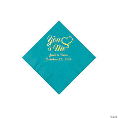 Turquoise You & Me Heart Personalized Napkins with Gold Foil - Beverage